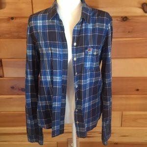 Hollister plaid thin cotton button down blouse